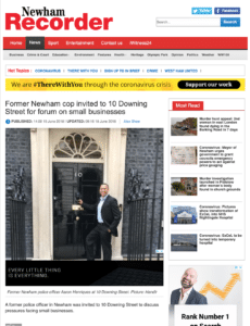 Aaron Henriques online startup business coach in the press for attending Downing Street to advise on UK government business strategy.